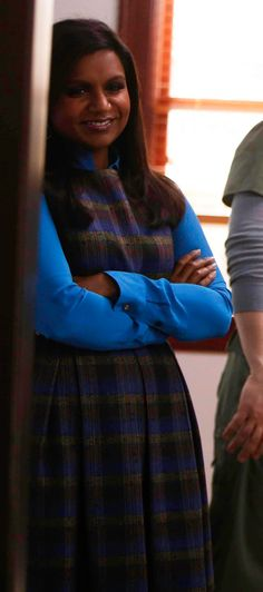 19267c15e8 Mindy's blue plaid dress and shirt on The Mindy Project. Outfit details:  http: