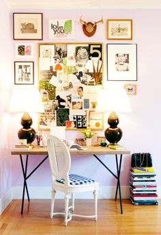i need my desk area to be this inspiring...    Katie Armour's desk (photo by Cooper Carras, chair: vintage, desk: West Elm, lamps: Lamps Plus, crocodile bag: vintage, paint: Benjamin Moore Lily Lavender)