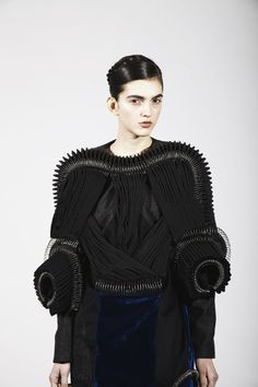 Wearable Art with tubes, pleats & wire spirals - innovative 3D fashion constructs; experimental fashion design // Yong Kyun Shin