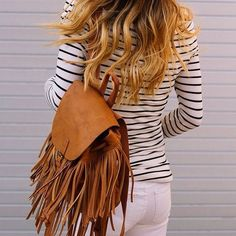 White denim, striped T and fringe backpack (Target) Fringe Backpack, Hippie Style, My Style, Casual Weekend Outfit, Fringe Handbags, Target Style, Peasant Tops, White Denim, Everyday Fashion