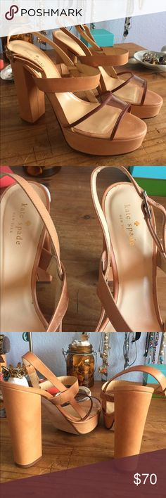 KATE SPADE PLATFORMS Beautiful light brown Kate spade platforms. Made in Italy. A little discoloration on the inside strap, but other than that, excellent condition! Very fashionable kate spade Shoes Heels