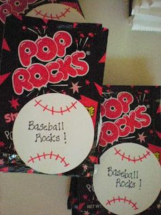 I made these little Baseball Rocks! Treat bags for the team when it is my turn to bring snack next week. Each bag includes a bag of Pop . Softball Goodie Bags, Softball Treats, Baseball Party Favors, Baseball Treats, Softball Team Gifts, Baseball Coach Gifts, Cheerleading Gifts, Little League Baseball, Baseball Boys