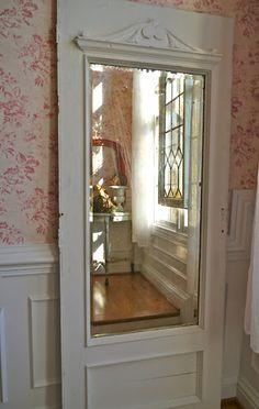 Add inexpensive mirror to old door concept...