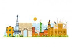 Viajar a Europa. Monumentos históricos de Francia y de Inglaterra Ilustraciones De Stock Sin Royalties Gratis