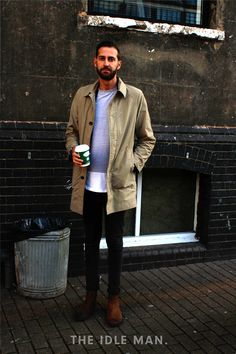 Men's street style, for timeless and stylish look, pair a neutral coat with black skinny jeans, add an ombre effect shirt and a good pair of Chelsea boots to smarten up the day-to-day look | Shop men's clothing and footwear at The Idle Man