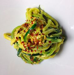 Creamy Garlic Zucchini Noodles with Red Pepper Flakes | 12 Light And Delicious Veggie Noodle Recipes