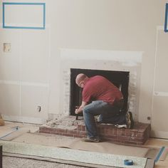 Amanda Lumpkin on Instagram: He's a hard workin' man.. Demoing the fireplace for something more...