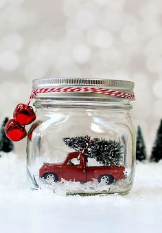 Vintage Car Snow Globe Mason Jar Christmas Craft