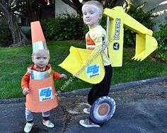 """Homemade Traffic Cone Toddler Halloween Costume: My 4.5 year old son had decided to be a backhoe for Halloween, so I had to come up with a """"sidekick"""" costume for my 11 month old. I wanted something relatively"""