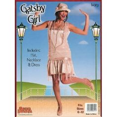 ADULT WOMENS GATSBY GIRL IVORY 1920'S HALLOWEEN FANCY DRESS COSTUME- ONE SIZE