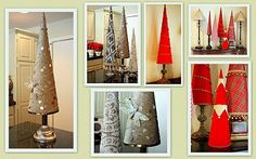 Fabric covered poster board Christmas Tree Cones - includes template