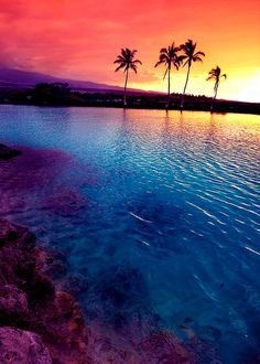 Sunset at Kiholo Bay on the Kohala Coast of the Big Island of Hawaii by Yves Rubin ~edit via ~Lori