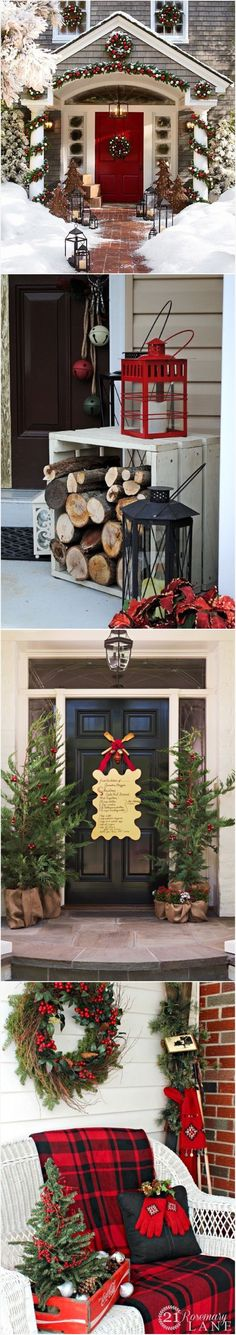 Christmas decorating front porch ideas (Outdoor Wood Christmas) by erica Christmas Porch, Noel Christmas, Outdoor Christmas Decorations, Country Christmas, Winter Christmas, Christmas Crafts, Holiday Decor, Christmas Displays, Light Decorations