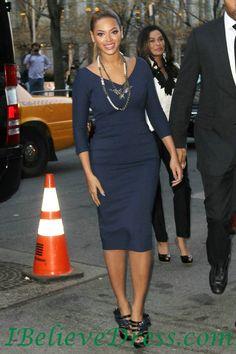 Satin Beyonce Navy Blue Sleeved Evening Party Dress Tea Length,Satin Beyonce Navy Blue Sleeved Evening Party Dress Tea Length - Selena gomez dresses, taylor swift dresses, celebrity look alike dresses-ibelievedress.com