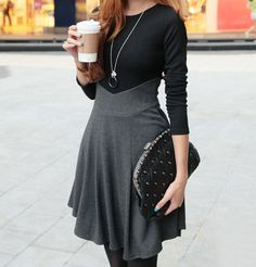 Ladylikle Round Collar Color Matching High Waist Long Sleeves Dress For Women (GRAY,ONE SIZE)   Sammydress.com