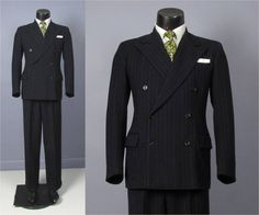Vintage Suit  1940's Men's Double Breasted Suit  by jauntyrooster