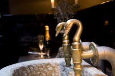 Antique swan tap, old sink, stone sink, bathroom design, swans, brass, vintage, interior, water