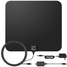 60 Miles HDTV Antenna, Fosmon Indoor Ultra Thin HDTV Antenna with Built-in Amplifier Signal Booster and High Signal Capture of Coaxial Cable (Black) Samsung Televisions, Cable Television, Asus Zenfone, Indoor, Digital, Range, Amazon, Audio, Smart Tv