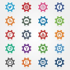 Social Poker Chips Vector Icons