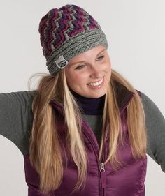 Ladies' Crochet hat pattern for free. Saw pics where people added a pom pom to the top - makes it super cute!