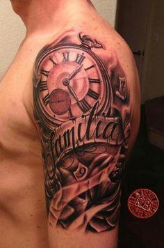 Men Tattoos Clock Half Sleeve Tattoo Designs For Men Polynesian Half S . Neue Tattoos, Body Art Tattoos, Cool Tattoos, Maori Tattoos, Tatto Skull, Tatoo Art, Clock Tattoo Design, Tattoo Designs, Tattoo Clock