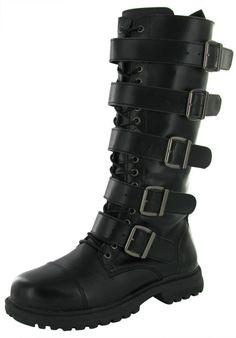 Rivet Head Mens Combat Boot Man Made Leather Mid Calf Industrial Shoes #RivetHead #Military