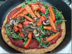 Quinoa pizza.  I might cut my toppings into smaller pieces and use a bit of raw cheese.  Otherwise...can't wait!