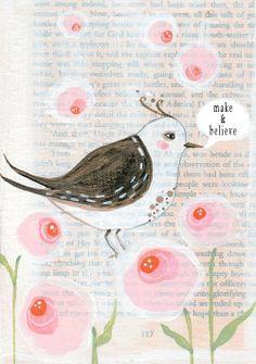 Heart Handmade UK: Illustrated Birds on Vintage Postcards | Illustrator LillyMoon