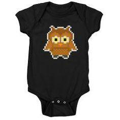pixel owl dark bodysuit/onesie > $18.49US > babybitbyte (cafepress.com) #babybitbyte #cafepress #pixel #pixels #owl #owls #8bit #iam8bit #gamer #gamers #retro #pixelart #hoot #hoots #hooter #nerd #geek #hipster #bird #nightbird
