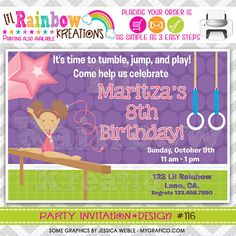 116 DIY Gymnastics Party Invitation Or Thank by LilRbwKreations