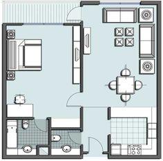 One Bedroom House Floor Plans One Room Floor Plan For Small House Small Room Bedroom, Small Rooms, Bedroom Ideas, Small House Plans, House Floor Plans, One Bedroom House Plans, Couple Room, Apartment Plans, Apartment Design
