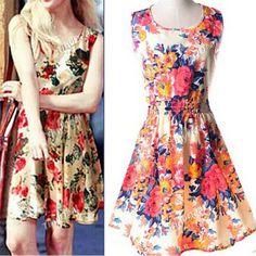 Summer Casual Printing Geometric Color Blocking Feminine Tunic Tank Scoop Knee-Length Dress for Women DCD-410416