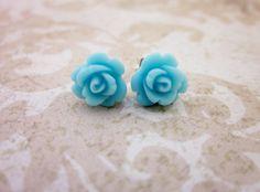 baby blue flower earrings
