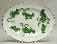 Wedgwood Chinese Tigers platter in green.