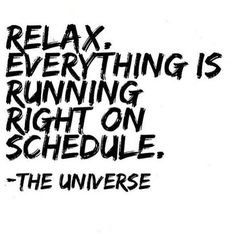 """Relax everything is running right on schedule."" The universe. Great inspirational quote about the universe."