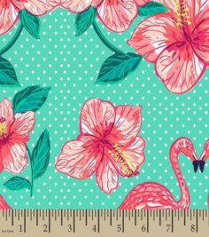Flamingo Flowers Print Fabric-Eco Canvas | Personalized Fabric | Online Only Product