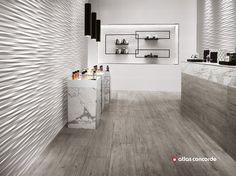 Rivestimento tridimensionale in ceramica a pasta bianca 3D WALL DESIGN BLADE by Atlas Concorde