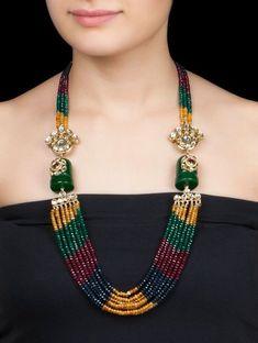 Buy Multicolor Ethno Necklace by Anjali Jain Metal Alloy Semi Precious Stone Jewelry Fashion Verses Bead Jewellery, Stone Jewelry, Beaded Jewelry, Jewelry Necklaces, Beaded Necklace, Larimar Jewelry, Handmade Jewelry, Jewelry Tools, Swarovski Jewelry