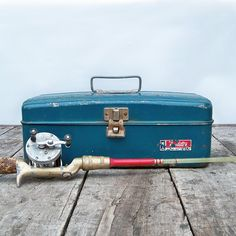 MidCentury Western Auto Metal Tackle Box  Teal by leapinglemming