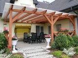 Zadaszenie patio z wykorzystaniem drewnianych słupów Pergola, Outdoor Structures, Patio, Terrace, Arbors