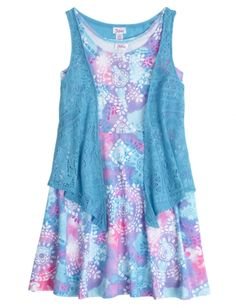 Justice Clothes for Girls Outlet | Denim And Floral Belted ...