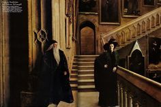 Dame Maggie Smith as Deputy Headmistress Minerva McGonagall, a witch who teaches Transfiguration, with Richard Harris Albus Dumbledore, by Annie Leibovitz for Vanity Fair, 2001 Annie Leibovitz, Hogwarts, Slytherin, Harry Potter Love, Harry Potter World, James Potter, Big Hero 6, No Muggles, Harry Potter Cosplay