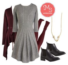 """""""Warm Cider Dress"""" by modcloth ❤ liked on Polyvore featuring BC Footwear, Fall, outfit, layers and modcloth"""
