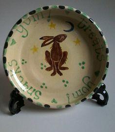 Hare plate folk art handmade plate kitchen by DancingHarePottery