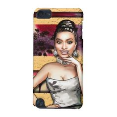 #gold - #Retro Pinup Girl Leopard Flowers & Gold Stripes iPod Touch (5th Generation) Case