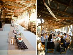 "love the fabric strip streamers, the burlap table runners, the wooden plank ""runners"" and the small collection of milk glass + vintage ceramics holding fruit and simple flowers Farm Wedding, Wedding Reception, Backyard Barn, Barn Parties, Maggie Sottero Wedding Dresses, Table Centerpieces, Wedding Centerpieces, Green Wedding Shoes, A Table"
