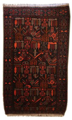 This is a vintage Afghan Baluch rug that is approximately 45 years old. It is handwoven and made of 100% wool. It is in excellent condition and ready to come into your home!