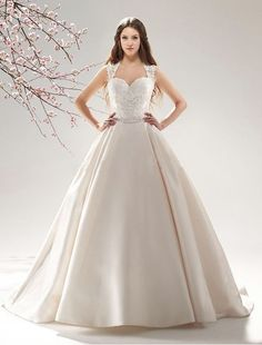 Satin and Lace Sweetheart Ball Gown Wedding Dress with Cap Sleeves MS038