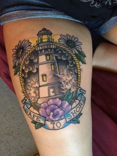 My lighthouse tattoo. Lyrics from the song My Lighthouse by Rend Collective Experiment :)