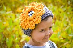 <3 the huge flower! Chunky Ribbed Earwarmer Headband with Rose by Crochet by Jennifer $4.99